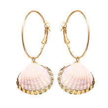 Hot Sea Shell Earrings For Women Gold Color Geometric Drop Summer Beach Ladies Fashion Jewelry