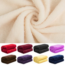 Home Textile Flannel Blanket Pink Super Warm Soft Blankets Throw on Sofa/Bed/Plane Travel Patchwork Solid Bedspread(China)