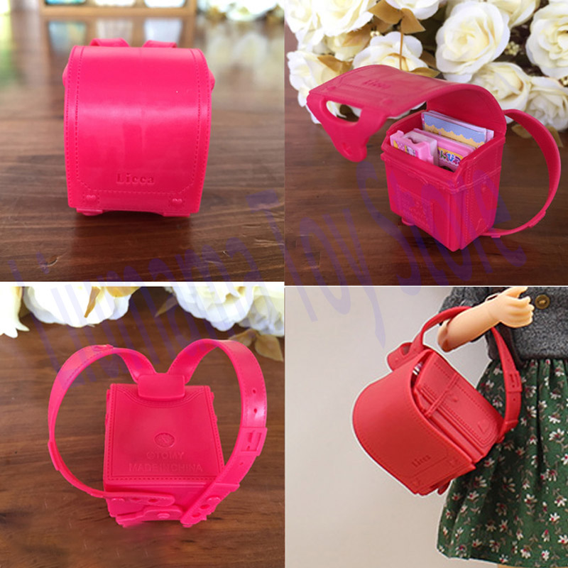 Bag Toy Accessories For BarBie Licca Momoko Jerry BJD Azone 6 points 20-30CM doll Book Pencil Box Red Backpack Girl Gift School