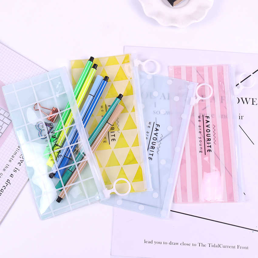 New Korea School Stationery Lovely Cute Kawaii Creative PVC Pencil Cases Fresh Translucent Storage Bags