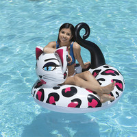 Painted Cat Giant Inflatable Pool Float Tube Raft Swimming Ring Pool Toys Water Bed Circle Boia Piscina For Adults Children
