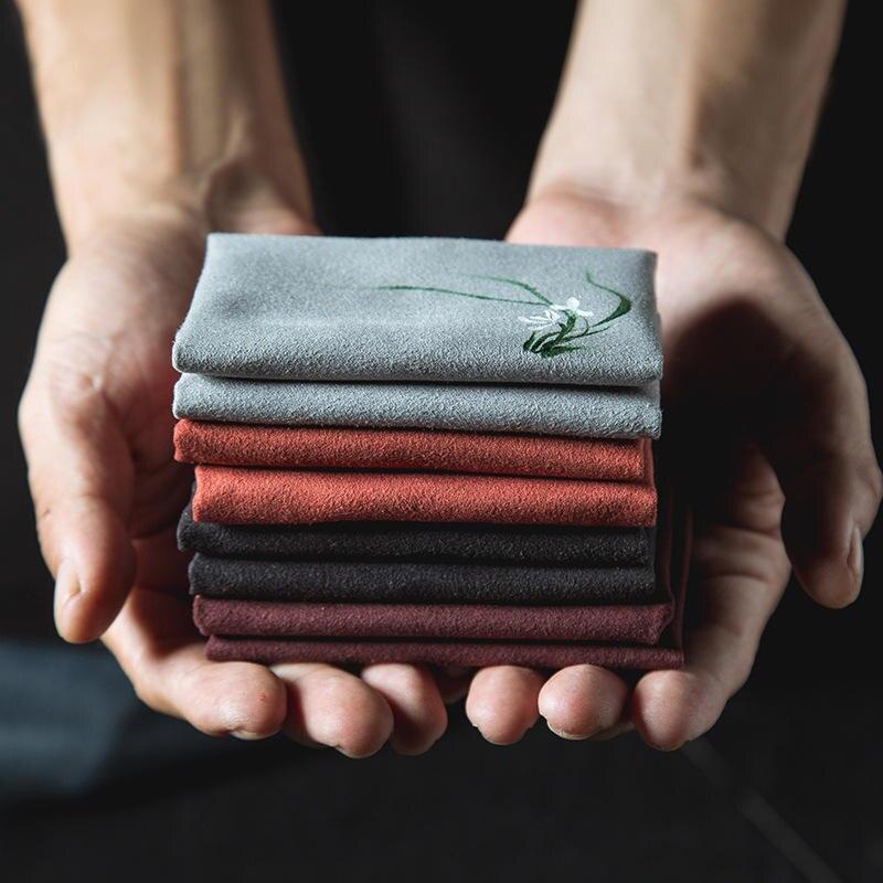 Vintage brodé thé serviettes tissu poisson prune fleur motif bol théière serviette de nettoyage bureau thé cérémonie accessoire 30*30cm