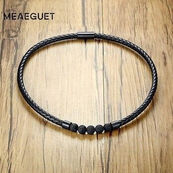 Naturaleza piedra Lave salud gargantilla corta cadenas collar hombres onda cuero negro Color hebilla magnética accesorios para hombre Regalos