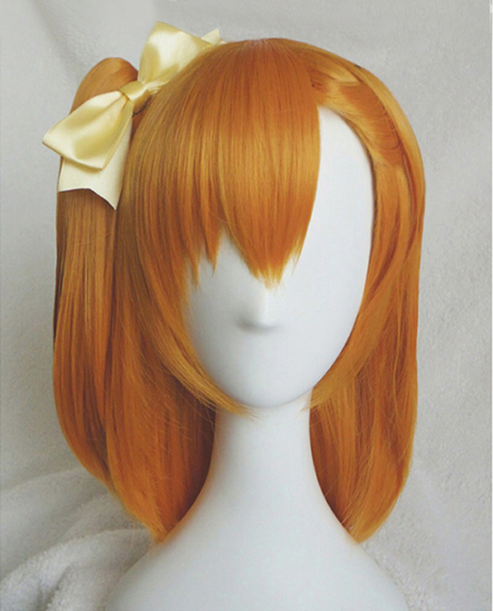 Honoka Kosaka Kousaka Wigs LoveLive! Love Live Heat Resistant Synthetic Hair Clip Ponytail Cosplay Wig + Wig Cap +Yellow Bowknot