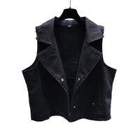 Ladies Loose Black Short Waistcoat Spring Summer Denim Cardigan Sleeveless Jacket Vest Turn Down Vests With Pockets Slim Coats