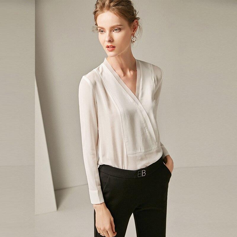 Femmes Col Noir Chemises Pulls Blanc Deux Automne Chemisier Soie 100 Noir Couleur blanc Longues Manches Nouvelles 2018 V UPUZX