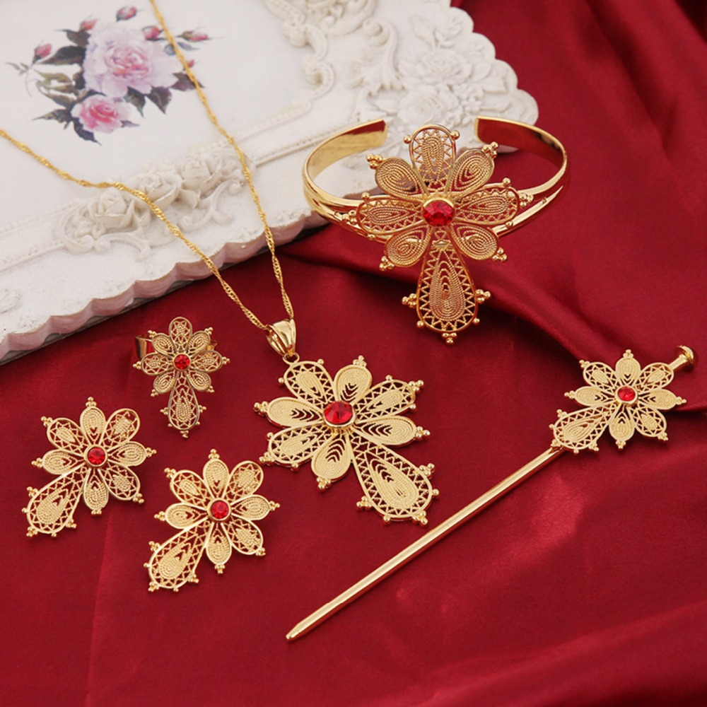 Bangrui NEW Ethiopian Cross Jewelry Sets 24k Fashion Stone Cross Sets For African Traditional Festival