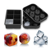 2Pcs 6 Cavity Square Round Shape 3D Ice Cube Mold Maker Bar Party Silicone Trays Chocolate