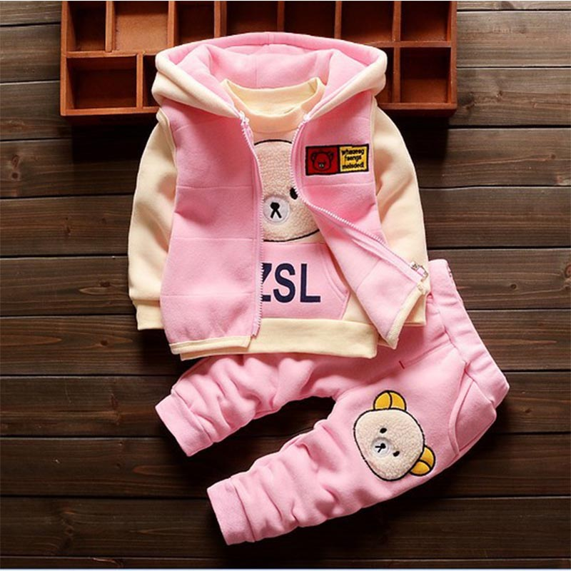BibiCola 2018 baby girls clothes sets girls warm tracksuit hoodies warm jacket+coat+pants infant bebe thermal clothing 3PCS bibicola infant girls clothes set spring autumn tracksuit 3pcs sets hoodies plus velvet vest t shirt pants suit girls clothing