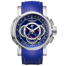 Reef Tiger/RT Mens Sport Watch with Chronograph Date 316L Steel Big Blue Dial Rubber Strap Quartz Watches RGA3063 reef tiger rt new design fashion business mens watches with four hands and date automatic watch rose gold steel watches rga165 page 2
