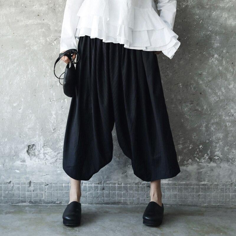 Nueva eam Marea Black Cintura Mujeres Pantalones Elástica Oscuro Dark Moda Negro Primavera Ancha Blue De 2019 Strioped Azul Las Alta Pierna Je819 T5qrT
