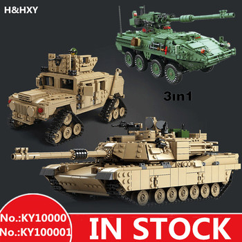 H&HXY Building Blocks Military Theme Tank M1A2 ABRAMS MBT KY10000 1 Change 2 Toys 1463pcs KY 10001 1672pcs 3 in 1 Tank Models