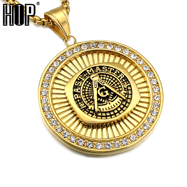 Hip hop gold color titanium stainless steel past master masonic free hip hop gold color titanium stainless steel past master masonic free mason freemasonry pendants necklaces for aloadofball Gallery