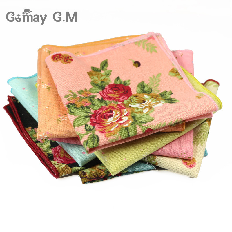 Men's Suits Linen Handkerchiefs Woven Floral Printing Pocket Square Hankies Men's Business Casual Square Pockets Hanky