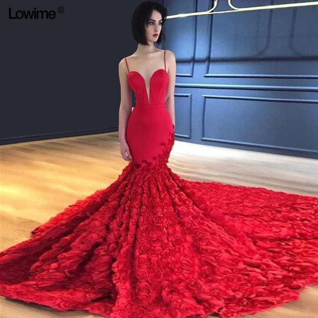 f75375f491 African Spaghetti Strap Mermaid Evening Dresses 2018 V-Neck Long vestidos  Sleeveless Prom Dress With Chapel Train