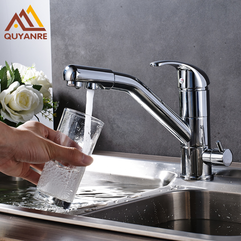 Kitchen Faucet Purified Water Purification Faucets Deck: Bright Chrome Purification Water Tap Deck Mounted 360