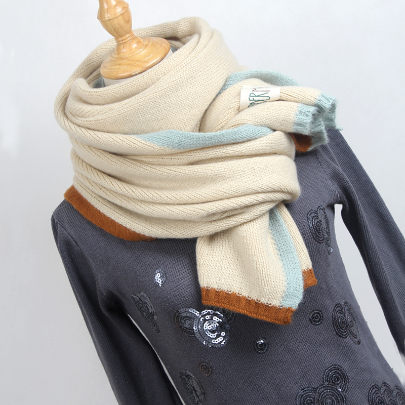 New Solid Color Wool   Scarf   Female Winter Students Couple Long Thickening Warm Knitting   Scarves   Sweet Girl   Wraps     Scarf   MX003