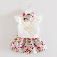 Fashion Toddler Girls Set White Girl Blouse + Floral Skirt Sets for Kids Sweet Children Suit Kids Clothes