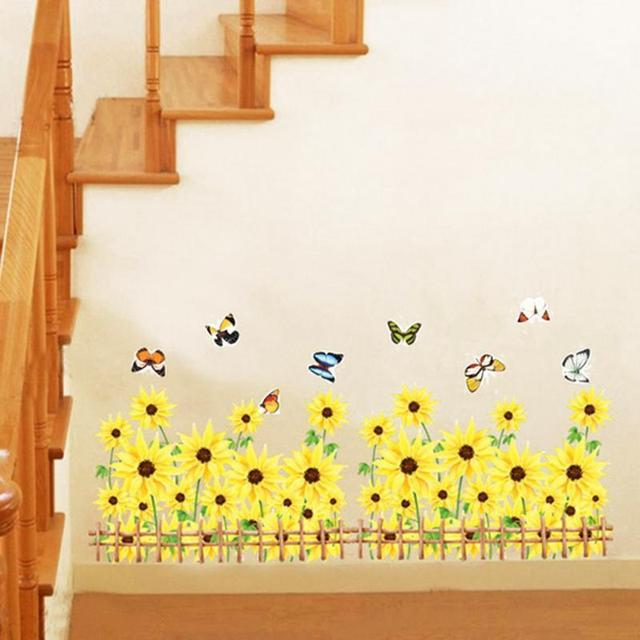 Wall Stickers Home Decor Living Room Yellow Sunflowers With Flying ...