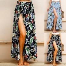 Printed long skirt Bohemian holiday beach Women Boho Maxi Leaf Print Summer High Waist Long Skirt Sexy Split Wrap 5.27