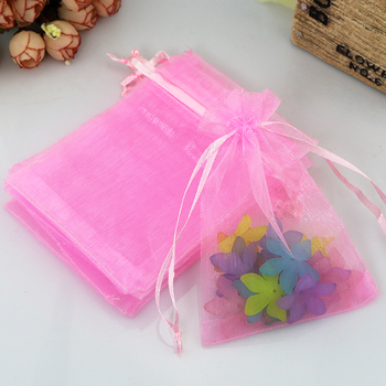 Free Shipping 1000pcs/lot 9x12cm Pink Small Organza Bag Cute Charm Jewelry Packaging Bags Christmas Wedding Organza Pouches