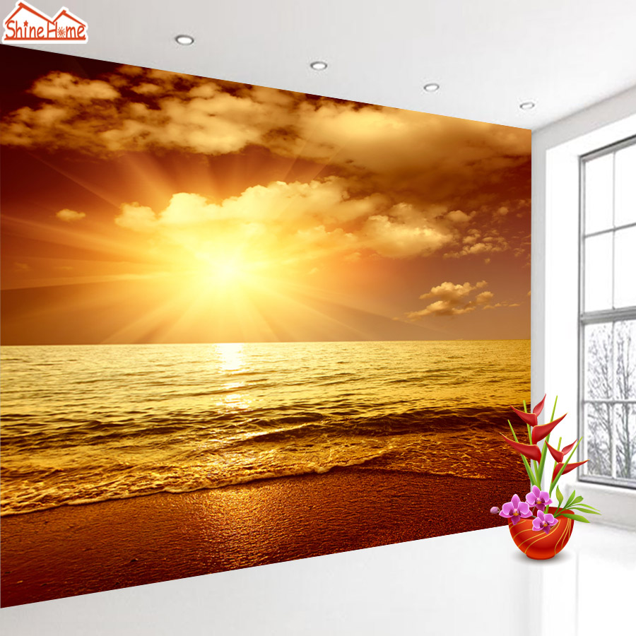 ShineHome-Sea Wave Sunset Twilight Dusk Nature Seascape 3d Photo Wallpaper for Walls 3 d  Living Room Wallpapers Mural Roll shinehome skyline sea wave sunset seascape wallpaper rolls for 3d walls wallpapers for 3 d living rooms wall paper murals roll