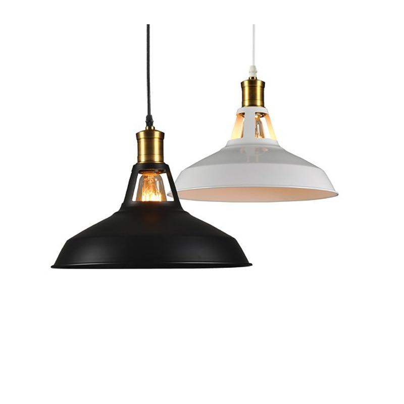 Kovano gvožđe Vintage Lampa Privjesak Crna Bijela Svjetiljka Rusija Dining Industrijski Privjesak Rasvjeta Edison Loft za Foyer Kuhinja