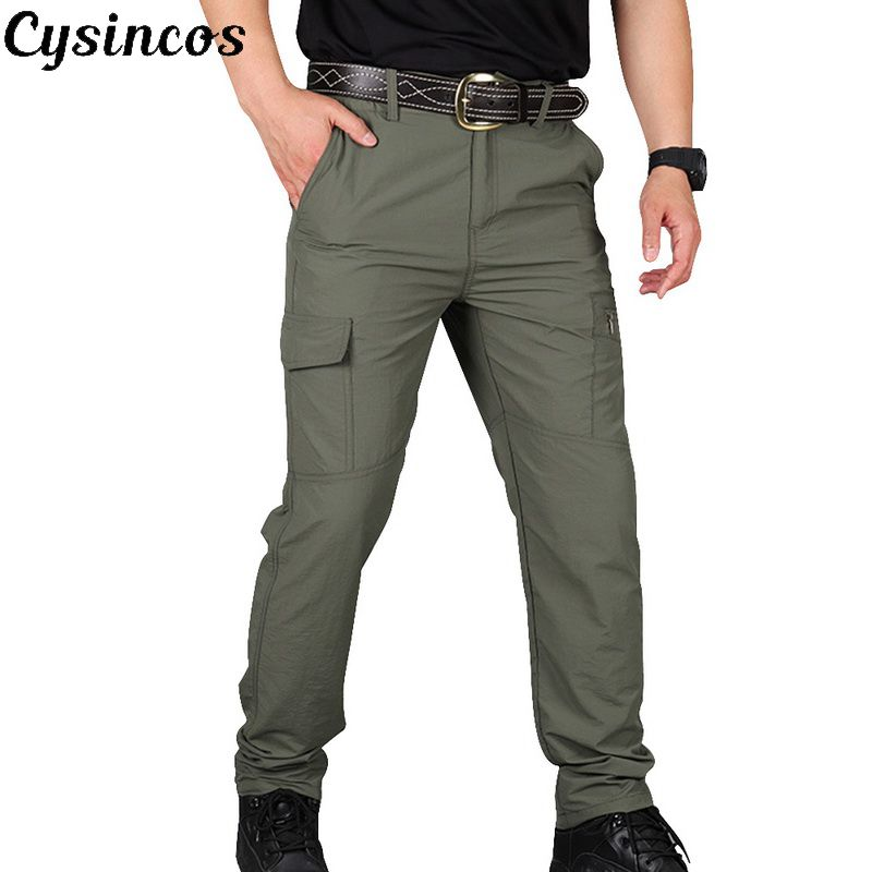 CYSINCOS Tactical Pants Of Men Pants Fashion Style Outdoor Workwear Leisure Pants Cotton Trousers Men's Overalls Clothing