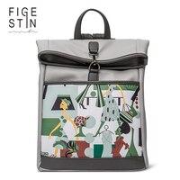 FIGESTIN Women's Backpacks Fashion Grey Yellow Preppy Style Stylish Backpack for Teenage Girls School Backpack Original Design