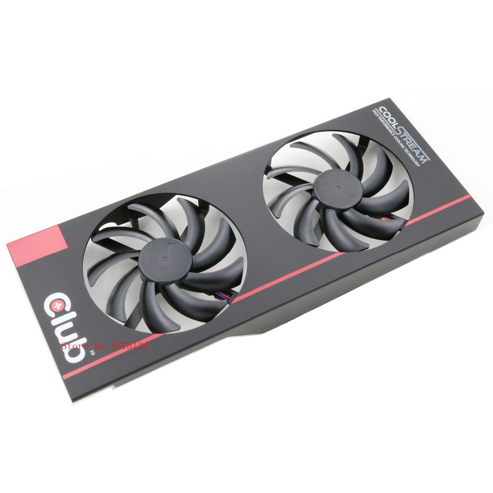 free shipping radiator computer cooler DC BRUSHLESS FAN for CLUB 3D for Radeon R9 280X royalKing video VGA Graphics Card cooling 2pcs computer vga gpu cooler fans dual rx580 graphics card fan for asus dual rx580 4g 8g asic bitcoin miner video cards cooling