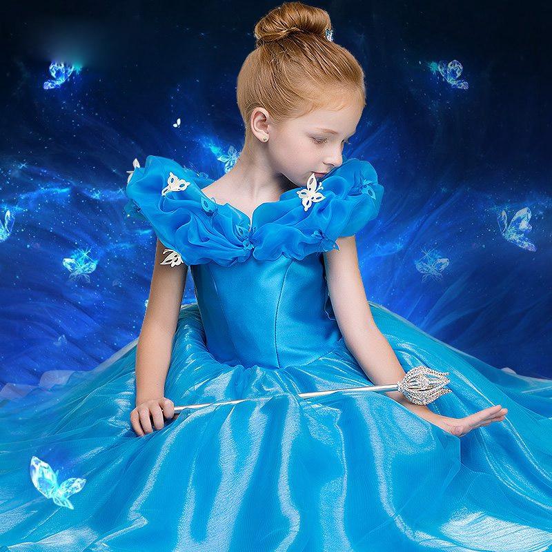 Custom Made Blue Ball Gown Children Cinderella Dress For