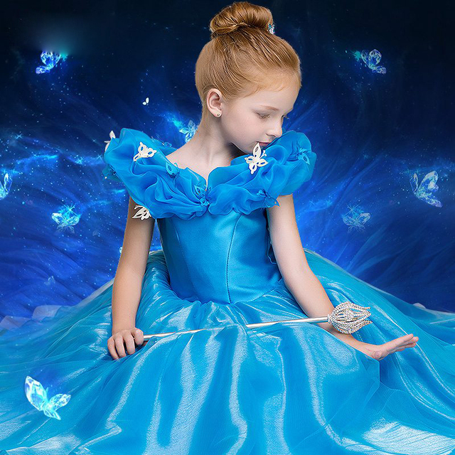 Custom Made Blue Ball Gown Children Cinderella Dress for Girl\'s Off ...