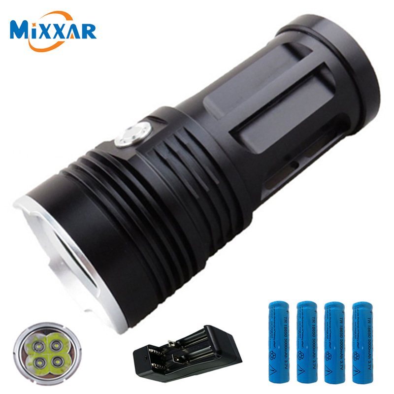 zk30 led flashlight MI-4 8000LM Torch 4x Cree XM-L T6 tactical Lantern torch and  4x18650 rechargeable battery with one charger new klarus xt11gt cree xhp35 hi d4 led 2000 lm 4 mode tactical led flashlight free usb port and 18650 battey for self defence