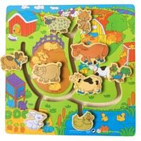 Animal Digital Walking Wooden Puzzle Educational Logical Labyrinth Plane Slide Puzzle Toys For Kids Children Funny