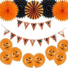 19pcs/set Halloween Decorations Orange & Blcak Happy Banner Garlands Balloons Tissue Paper Fans For party