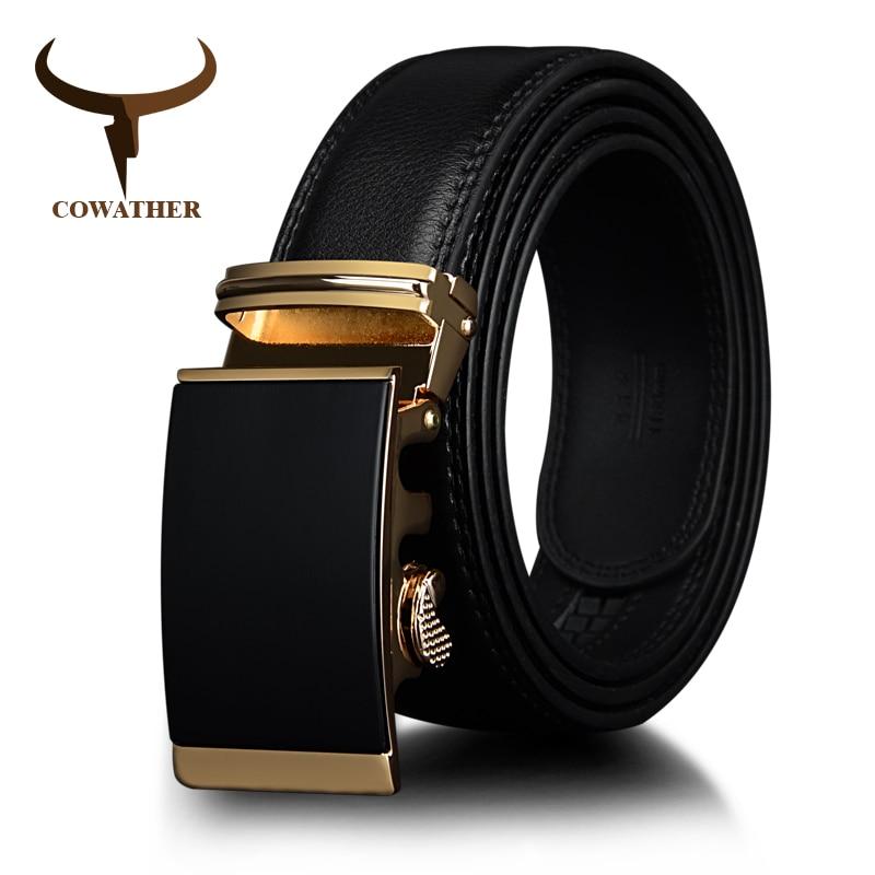 COWATHER Cow Leather Men Belts Gold Automatic Ratchet Buckle Fashion Luxury Dress Belts For Men Waist 30-44 BROWN BLACK CZ049