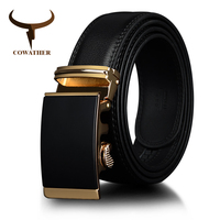 COWATHER Cowhide Leather Men Belts New Automatic Ratchet Buckle Fashion Luxury Dress Belts For Men Waist