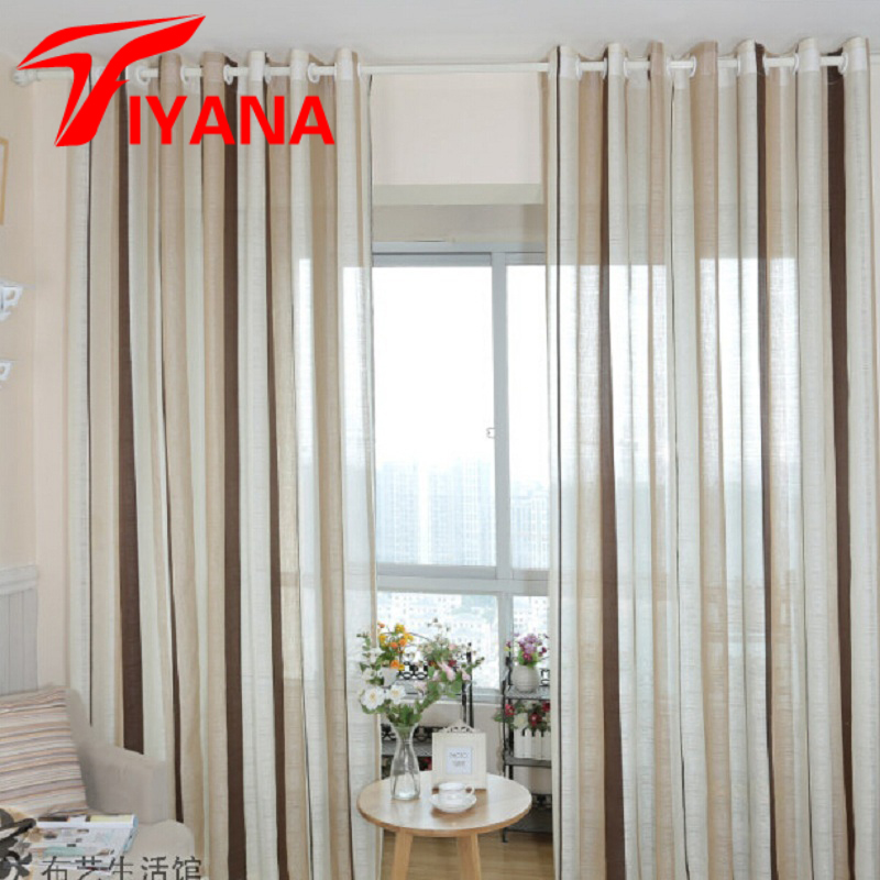 Linen Stripe Kitchen Curtains: European Cotton Linen Curtain Coffee Striped Design Window
