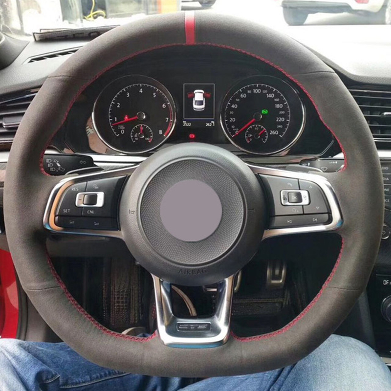 Black Suede Car Steering Wheel Cover for Volkswagen <font><b>Golf</b></font> <font><b>7</b></font> <font><b>GTI</b></font> <font><b>Golf</b></font> R MK7 <font><b>VW</b></font> Polo <font><b>GTI</b></font> Scirocco 2015 2016 image