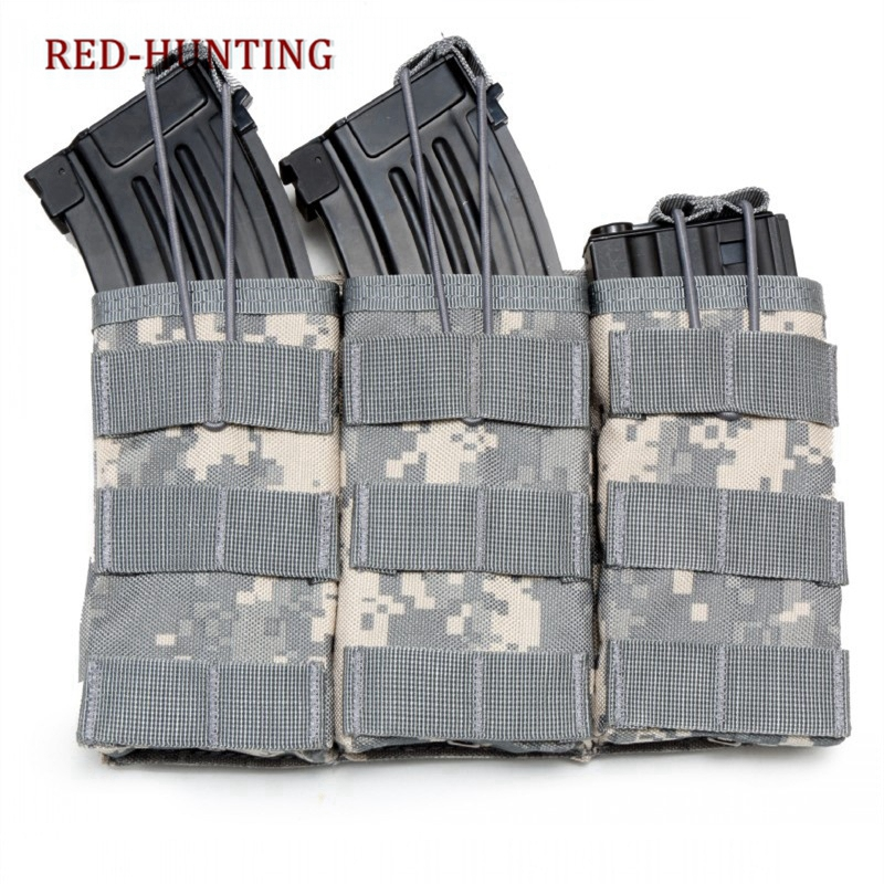 High Quality Triple Open Top Military Airsoft Tactical <font><b>M4</b></font> <font><b>Magazine</b></font> Pouch AK AR <font><b>M4</b></font> AR15 Rifle Mag Pouch image