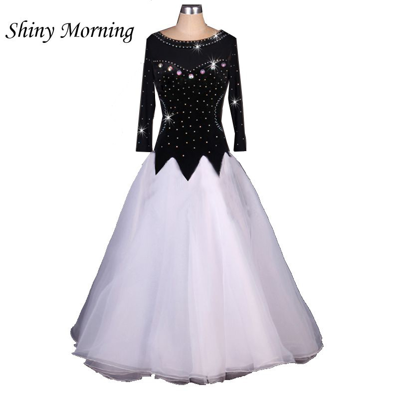customize  black white adult Viennese Ballroom Fox trot Quick step tango Modern galop Waltz stone competition Dance Dress