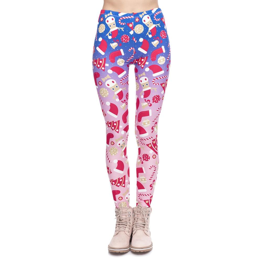 New Design Women Legging Christmas Symbols Ombre Printing Fitness Leggings High Waist Woman Pants Лосины