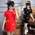 Girls summer short sleeve T shirt  long fashion casual Kitty print O-neck t-shirt tops Children girls clothes 2016 new arrival