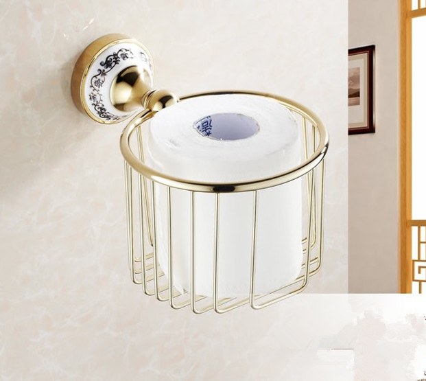 2016 Creative ceramics Design Gold Finish Bathroom Toilet Paper Holder/ Bronze Paper Towel Holder,Roll Holder &Tissue baskets copper open toilet paper tissue towel roll paper holder silver