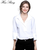 Hua Shang OL Style White Shirt Women Summer Stand V Neck Batwing Sleeve Tunic Blouse Tops