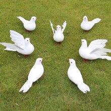 Белые голуби перо пена искусственный любовник мирные голуби птицы домашний сад Свадебный декор имитация Птицы Модель елка реквизит