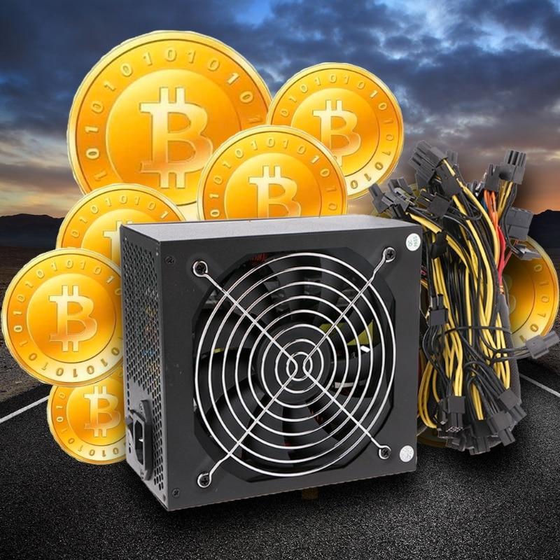 1600W Computer ATX Power Supply 14cm Fan Set For Eth Rig Ethereum Coin Miner EU Plug