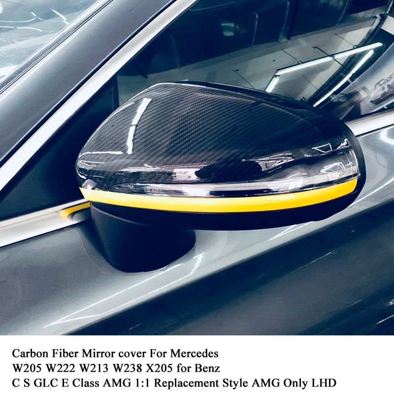 Carbon Fiber Mirror cover For Mercedes W205 W222 W213 W238 X205 GLC GLS C S GLC E Class C180 C200 AMG 1:1 Replacement Style AMGCarbon Fiber Mirror cover For Mercedes W205 W222 W213 W238 X205 GLC GLS C S GLC E Class C180 C200 AMG 1:1 Replacement Style AMG