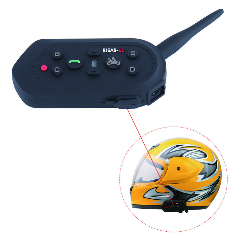 ФОТО 2PCS Updated E6 1200M BT Bluetooth Motorcycle Helmet Intercom Interphone Headset Wireless Hands Free Call de motos