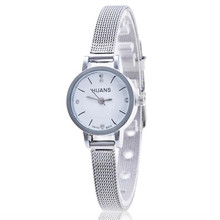 Quartz Watch Women Small Round Dial Stainless Steel Woven Mesh Band Simple Casual Ladies Wrist Watches